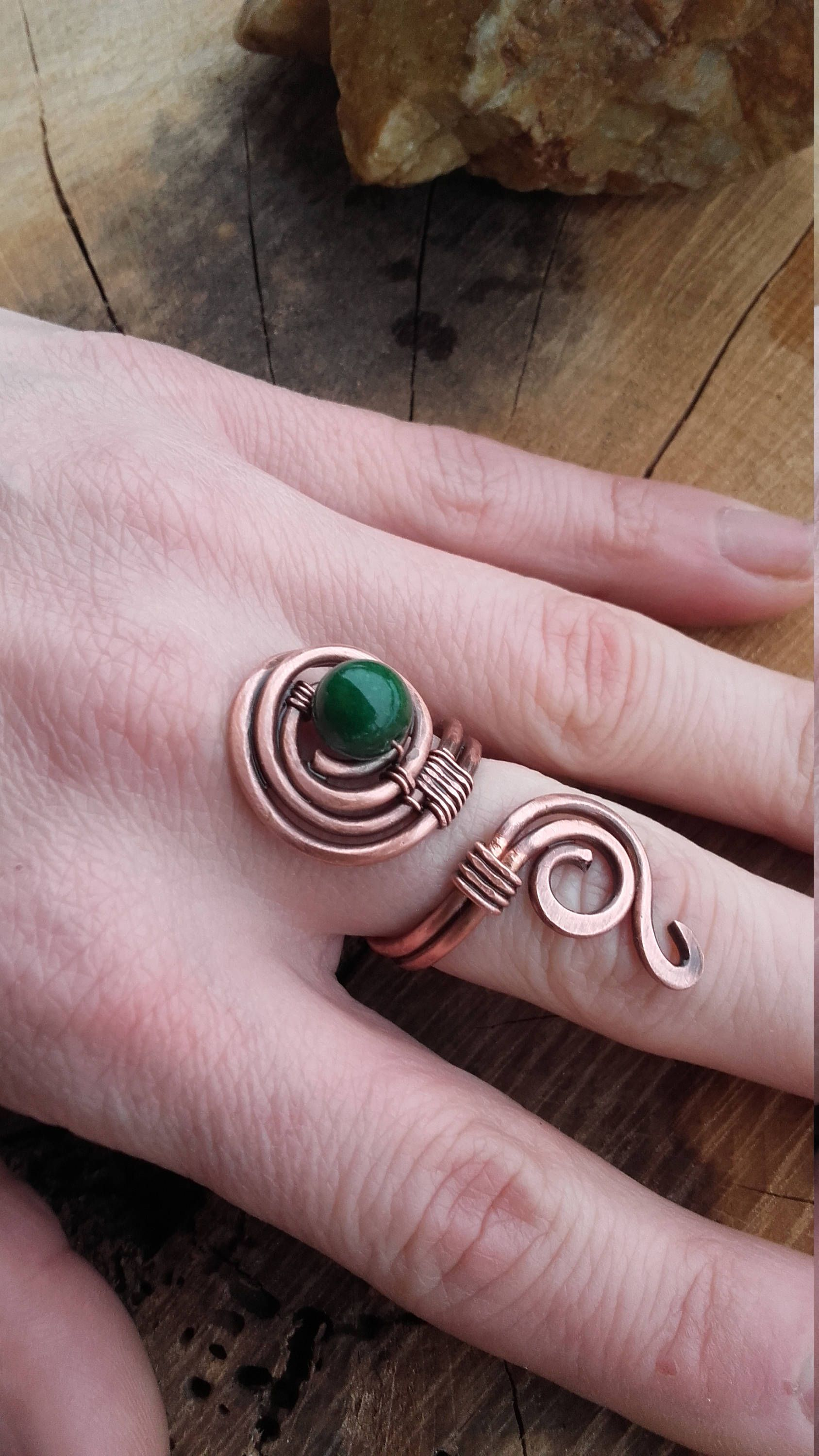 Simple copper wire wrapped ring with Jade beads,Copper wire ring ...