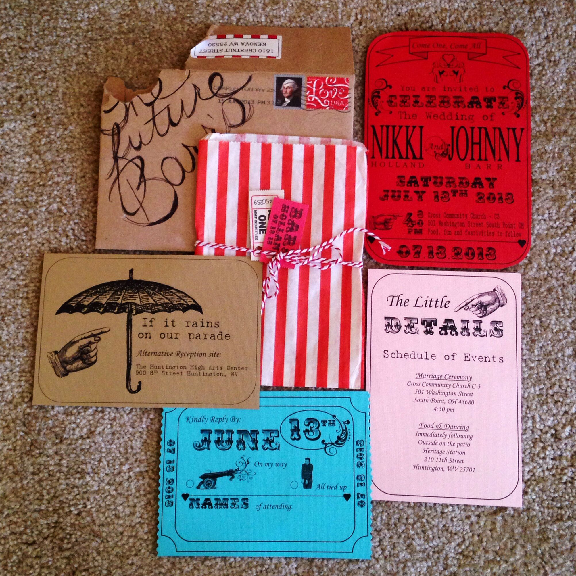 Vintage carnival circus theme wedding invitation . Red blue and ...