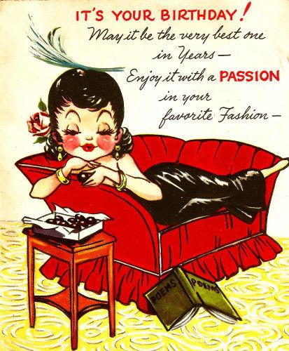 Vintage Birthday Card Sexy Gal Chocolates Couch – Vintage Birthday Cards