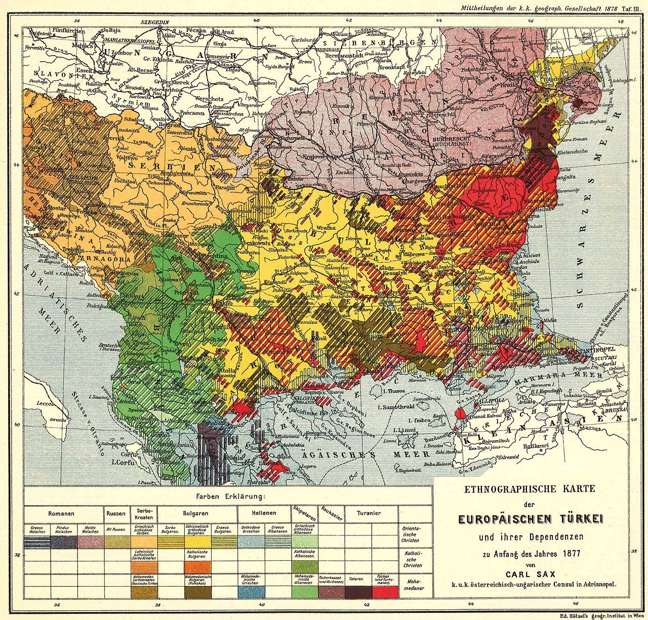 Ethnological Map Of European Turkey And Her Dependencies At The