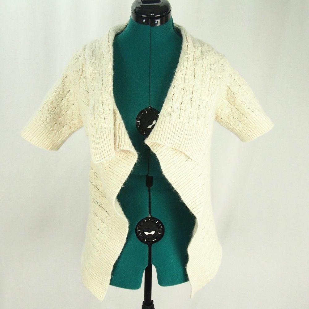 Banana Republic Womens Cardigan S/S Knit Open Front Draped Wool ...