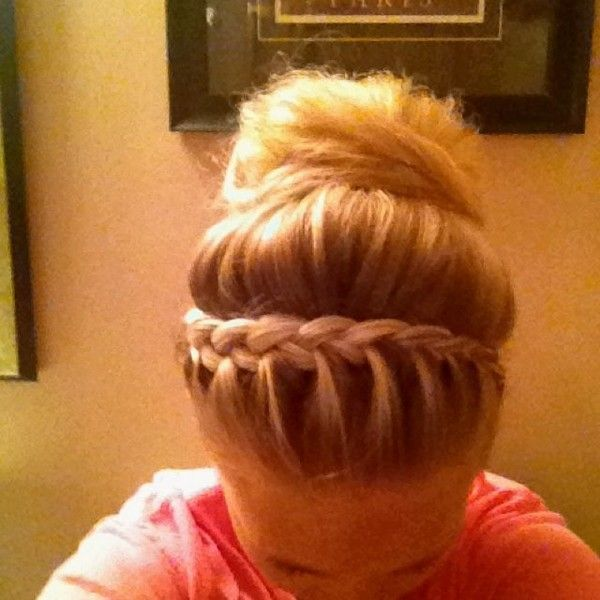 Braid Bump Bun Hair Liked On Polyvore Featuring Beauty Products