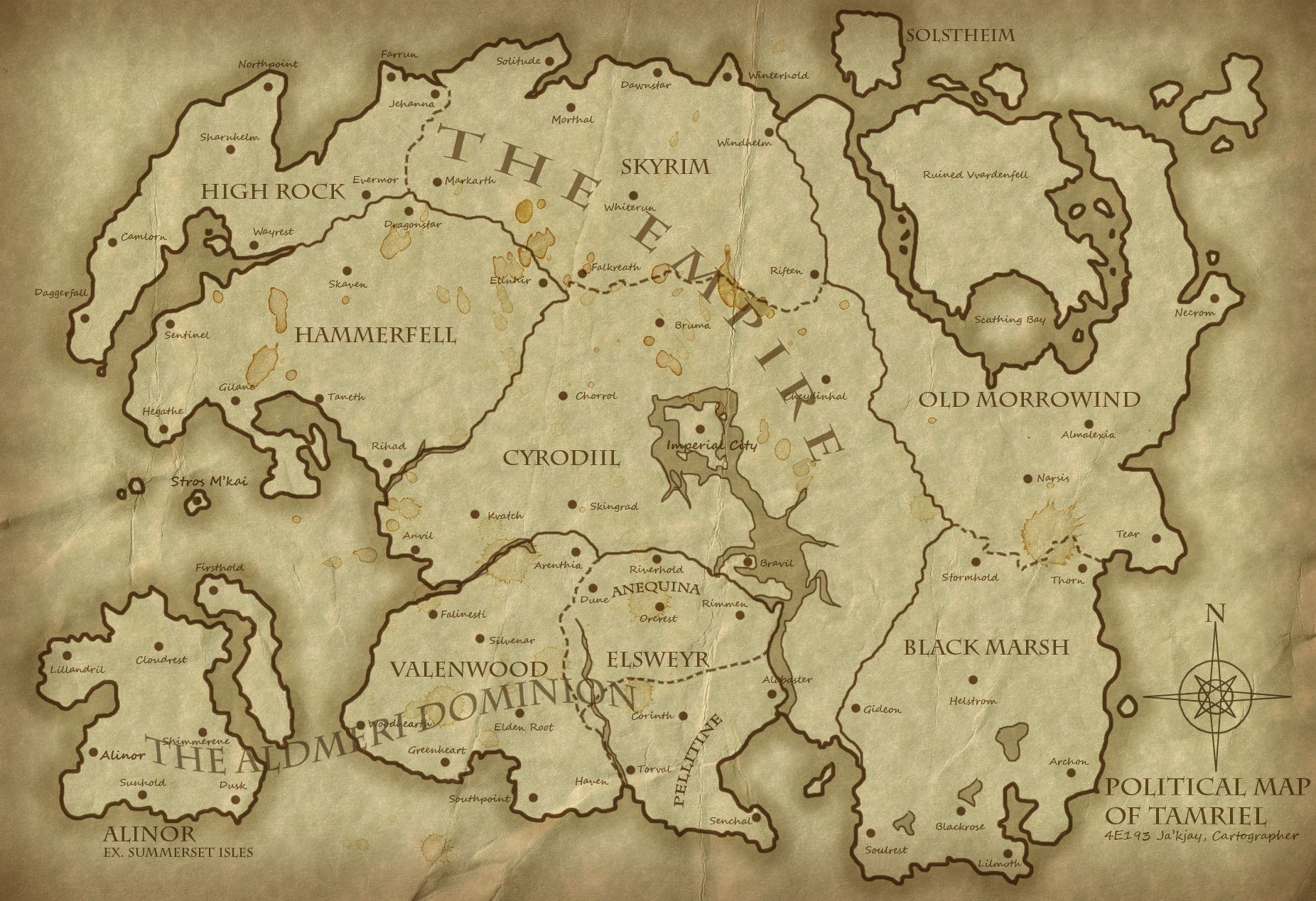 A Map Of All Of Tamriel | Political Map of Tamriel 4E193 - Revised ...