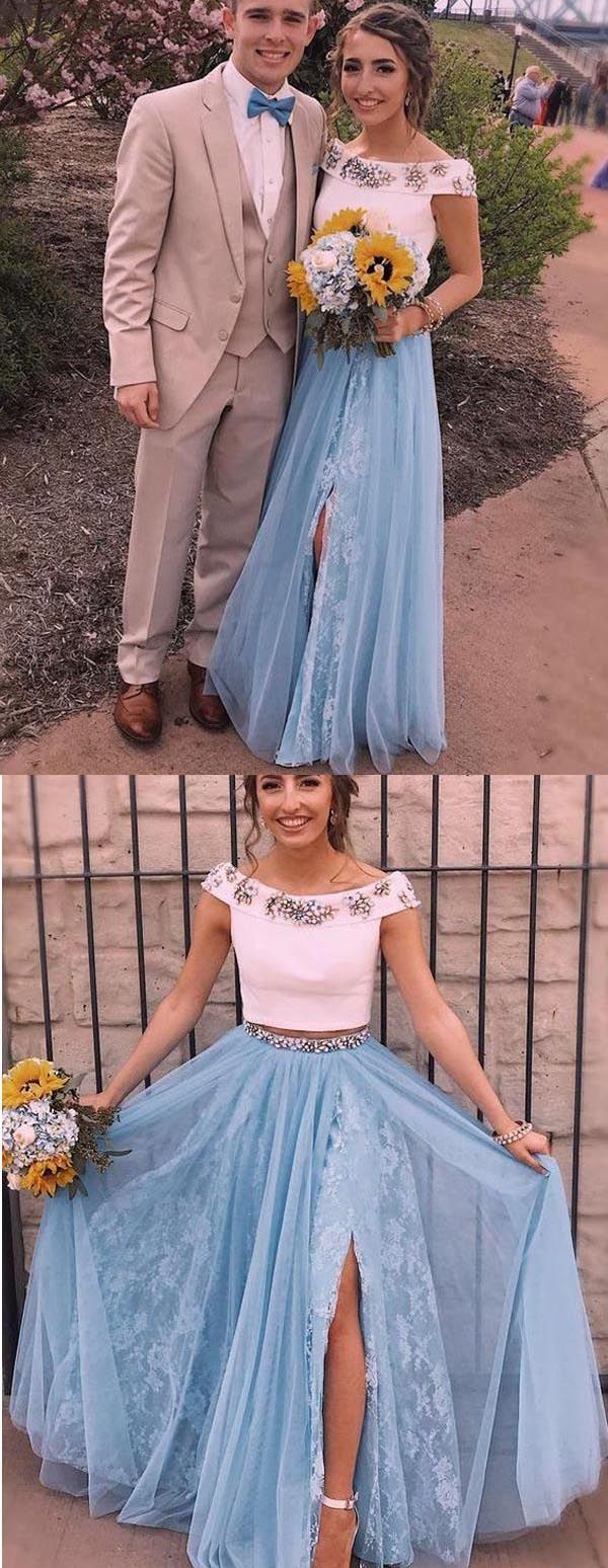 Two piece light sky blue off shoulder split lace tulle prom dress