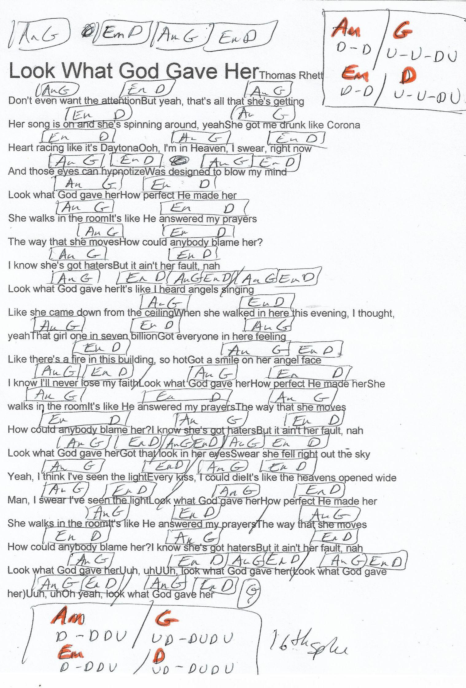 Look What God Gave Her Thomas Rhett Guitar Chord Chart Ukelele Chords Ukulele Songs Guitar Chord Chart Thomas Rhett