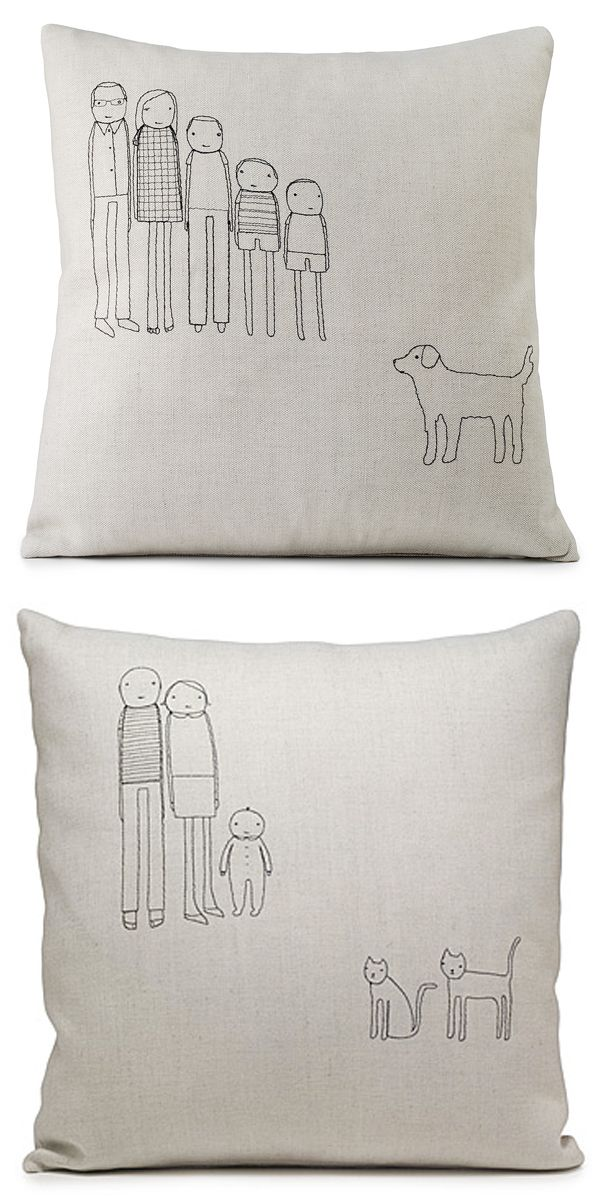 Customizable family pillows // K Studio. Less annoying than the car stickers.