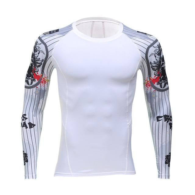 20fc6e840db4 Add muscle male compression tight t-shirts long sleeve printed on both  sides of MMA Rashguard fitness base layer weights to wear