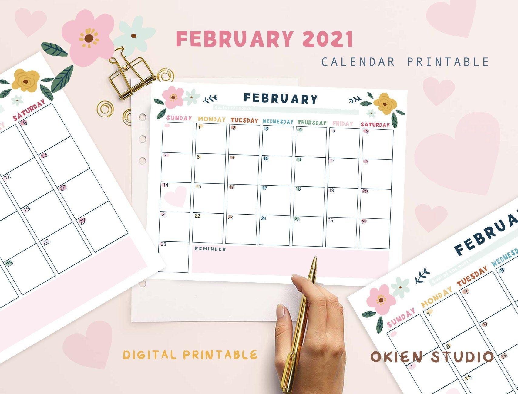 February 2021 Feb Calendar Feb Monthly Calendar Valentines Day Printable Pink Calendar Goodnotes Calend Pink Calendar Undated Monthly Planner Feb Calendar