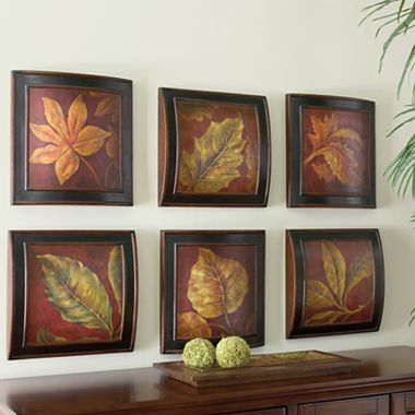 set of 6 leaf wall plaques jcpenney wall plaques on wall paintings id=20651