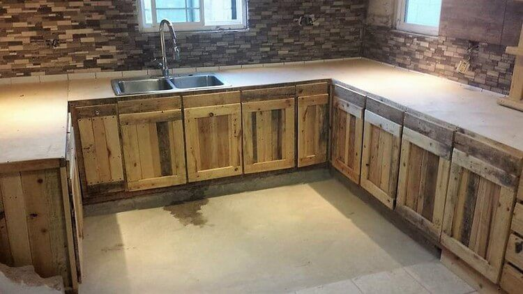 DIY Wood Pallet Kitchen Cabinets | Kitchen cabinets and ...