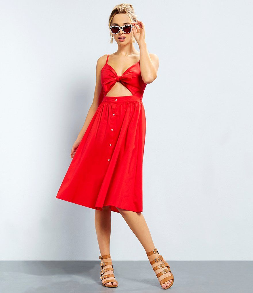 Shop For Gb Tie Front Sweetheart Neck Cutout Button Down Midi Dress At Dillards Com Visit Dillards Com To Find Clothing Accessor Outfits Dresses Cutout Dress [ 1020 x 880 Pixel ]