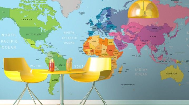 planisphere mappemonde earth world wall design deco decoration colors yellow. Black Bedroom Furniture Sets. Home Design Ideas