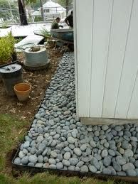 Great Idea If You Don T Have Gutters Rock Garden Landscaping Front Yard Outdoor Gardens