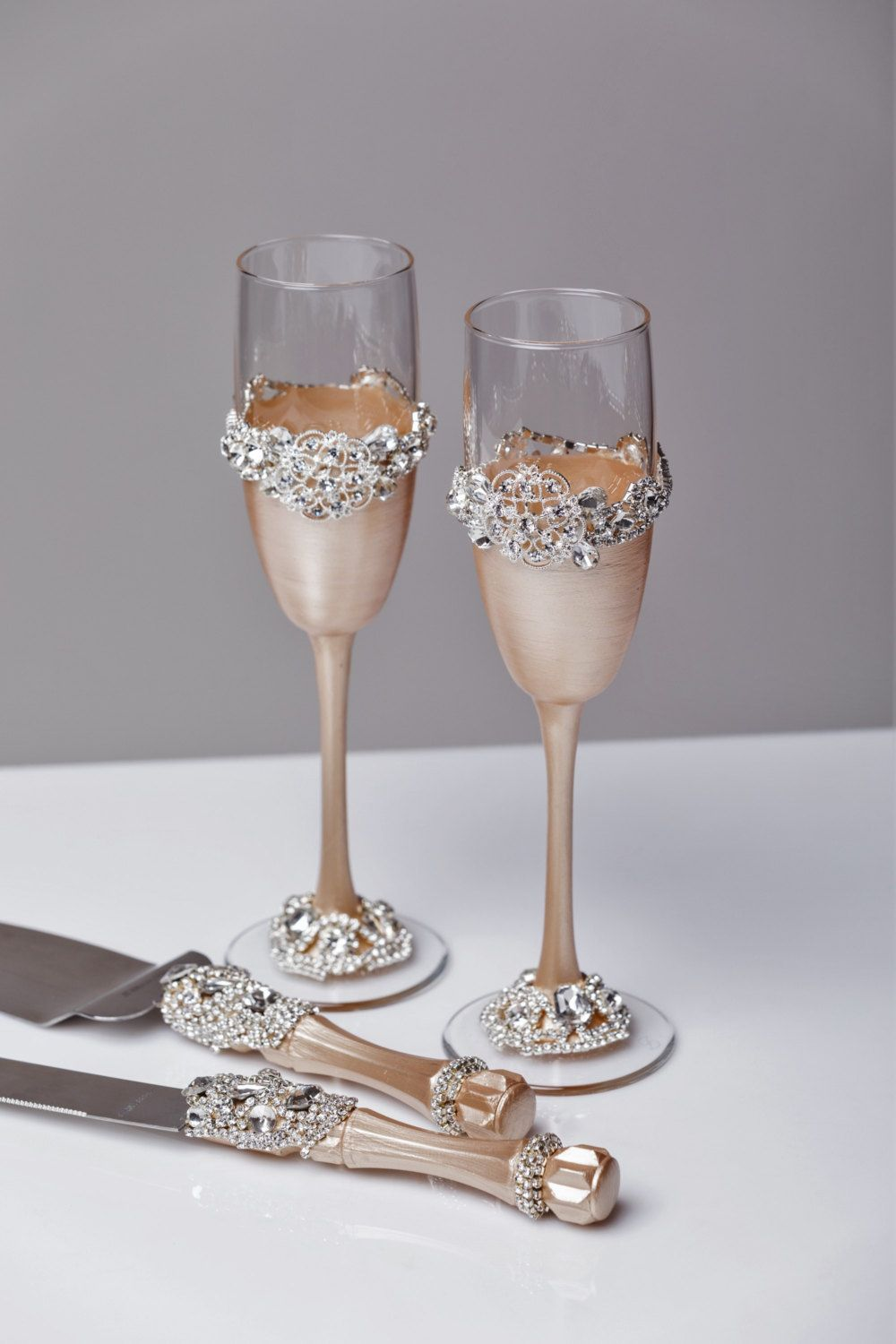 Personalized Wedding Gl And Cake Server Set Light Champagne Flutes Cutting Of 4