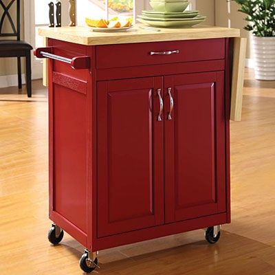 Big Lots Red Finish Kitchen Cart With Drop Leaf At Big Lots