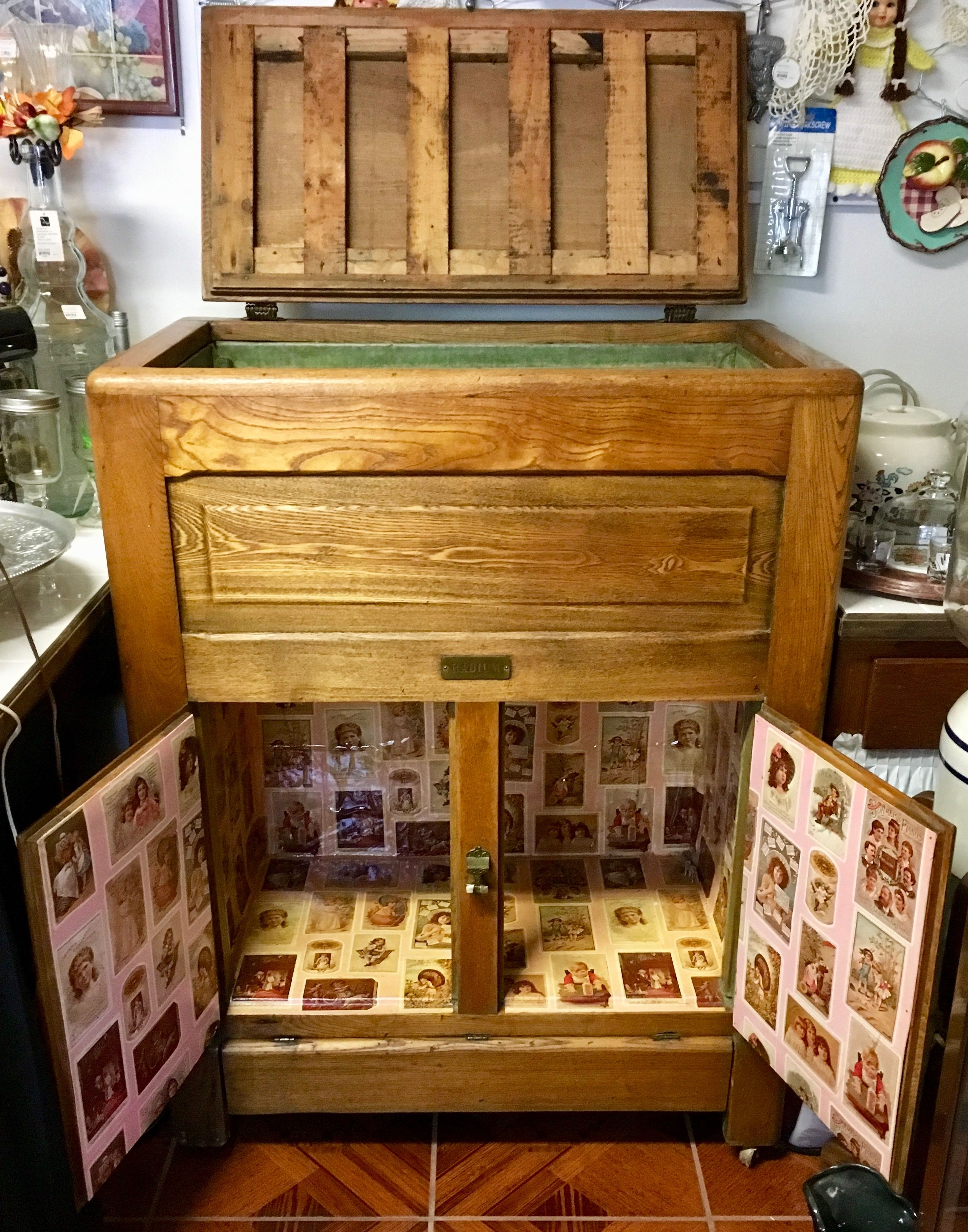 An Antique Wooden Ice Box Is A Great Collectible Item That Can Be Used As A Wine Or Liquor Cabinet Today The Ice Box Is Antiques Ponchatoula Antique Furniture