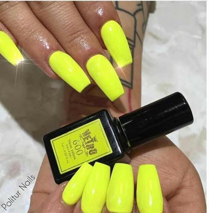 Neon Yellow Coffin Nails With Images Neon Yellow Nails Yellow