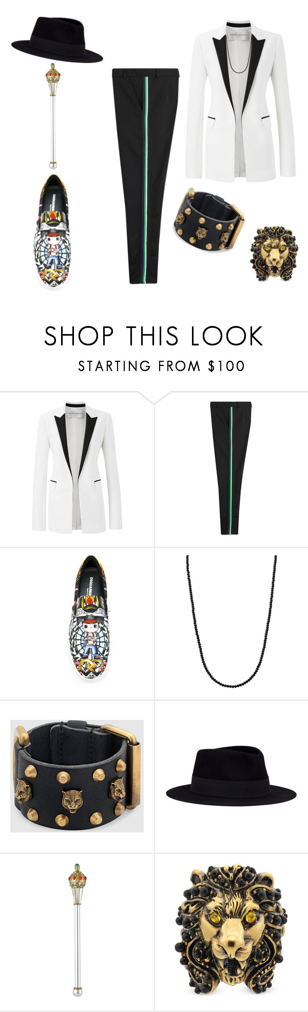 """King Me #420"" by missactive-xtraordinary ❤ liked on Polyvore featuring Amanda Wakeley, McQ by Alexander McQueen, Dsquared2, King Baby Studio, Gucci, Maison Michel, men's fashion and menswear"