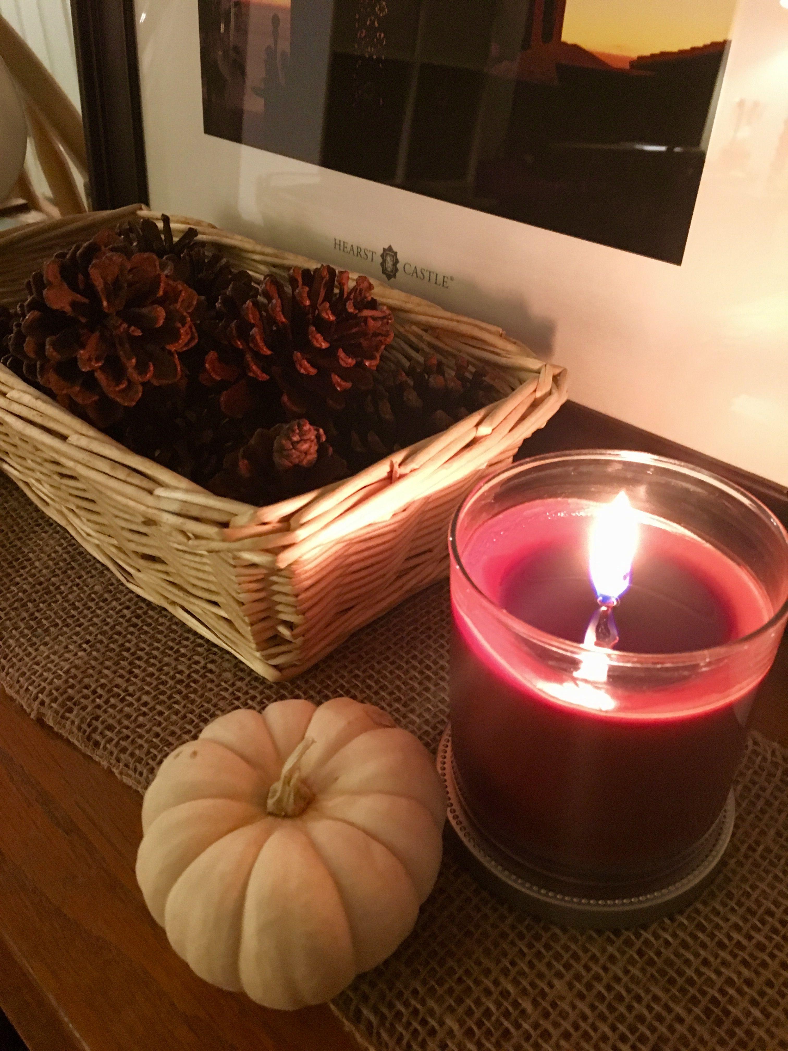 Autumn home decor...pumpkins, pine cones, burlap & harvest spice candle...simply delicious!
