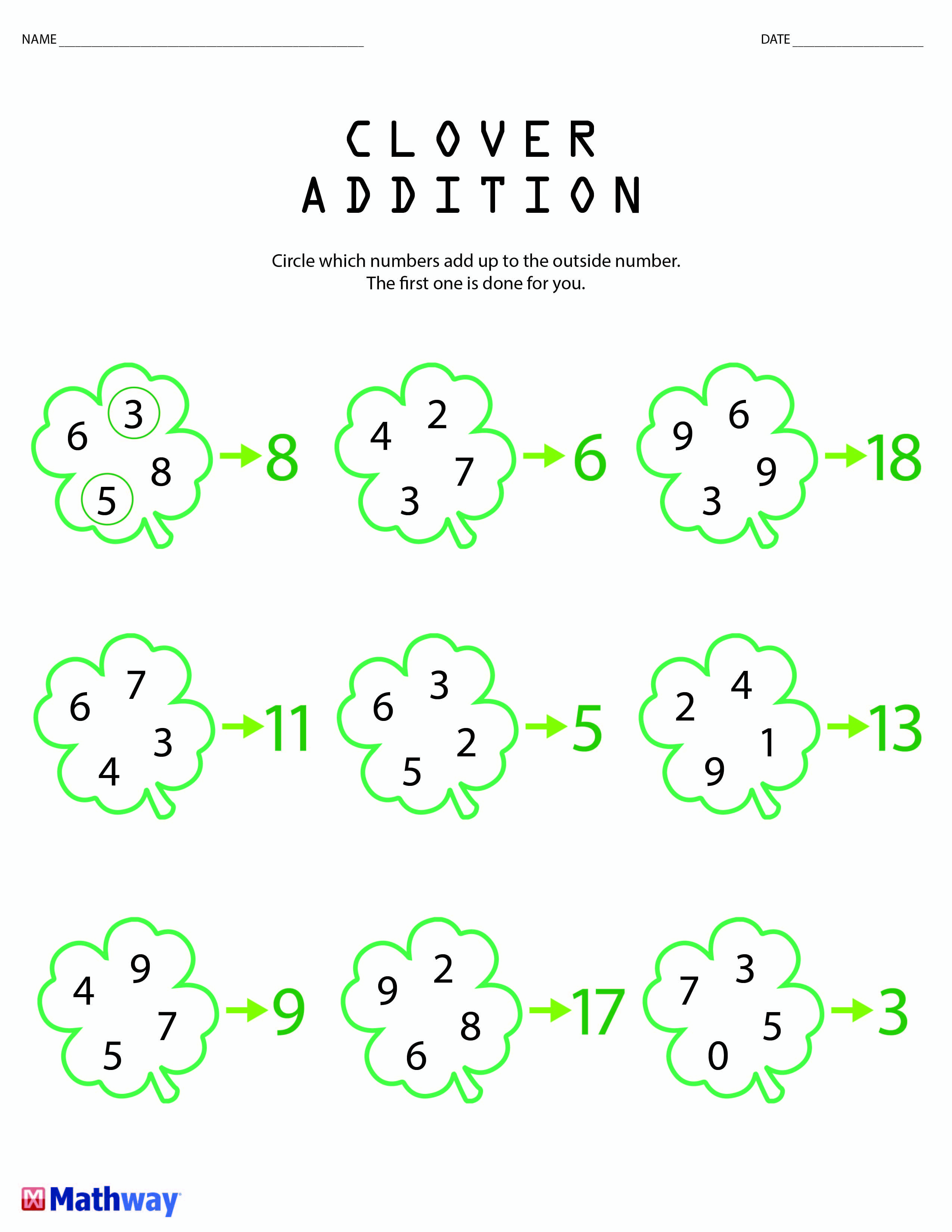 St Patrick S Day Inspired Clover Math Worksheet Perfect
