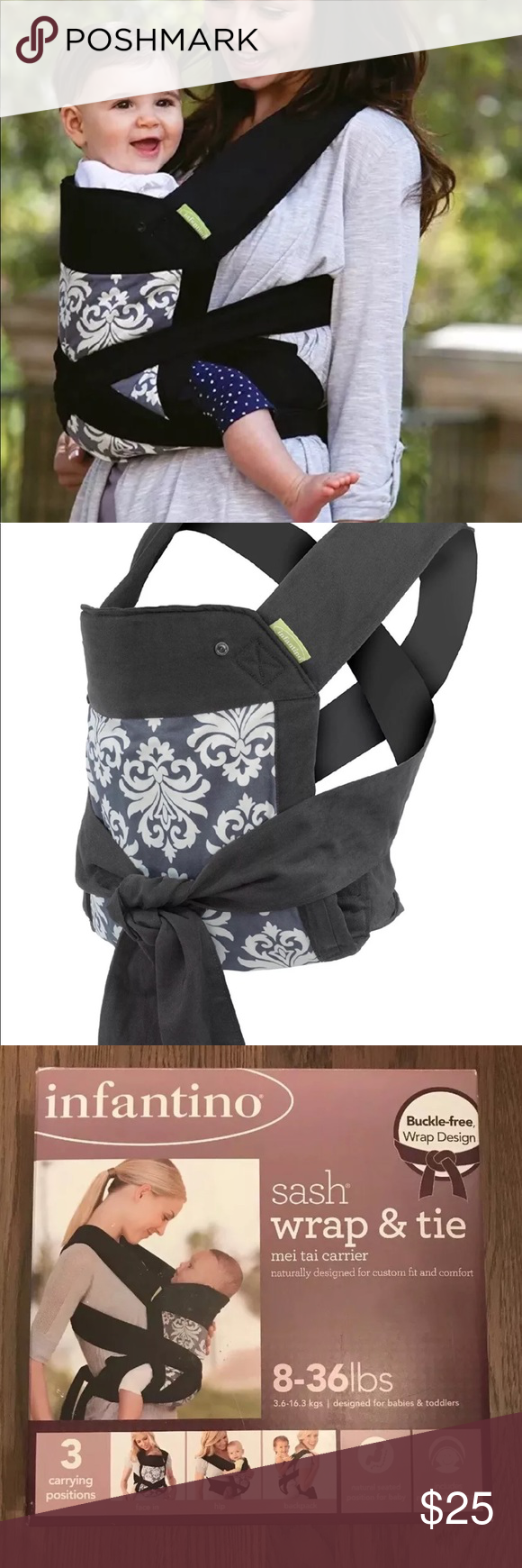 80ee7fd7d33 Infantino Baby Carrier - Sash Wrap and Tie OpenBox New. ⚠️Open Box⚠️Never  used 18-36lbs Infantino Sash Wrap and Tie Baby Carrier The Sash is based on  ...