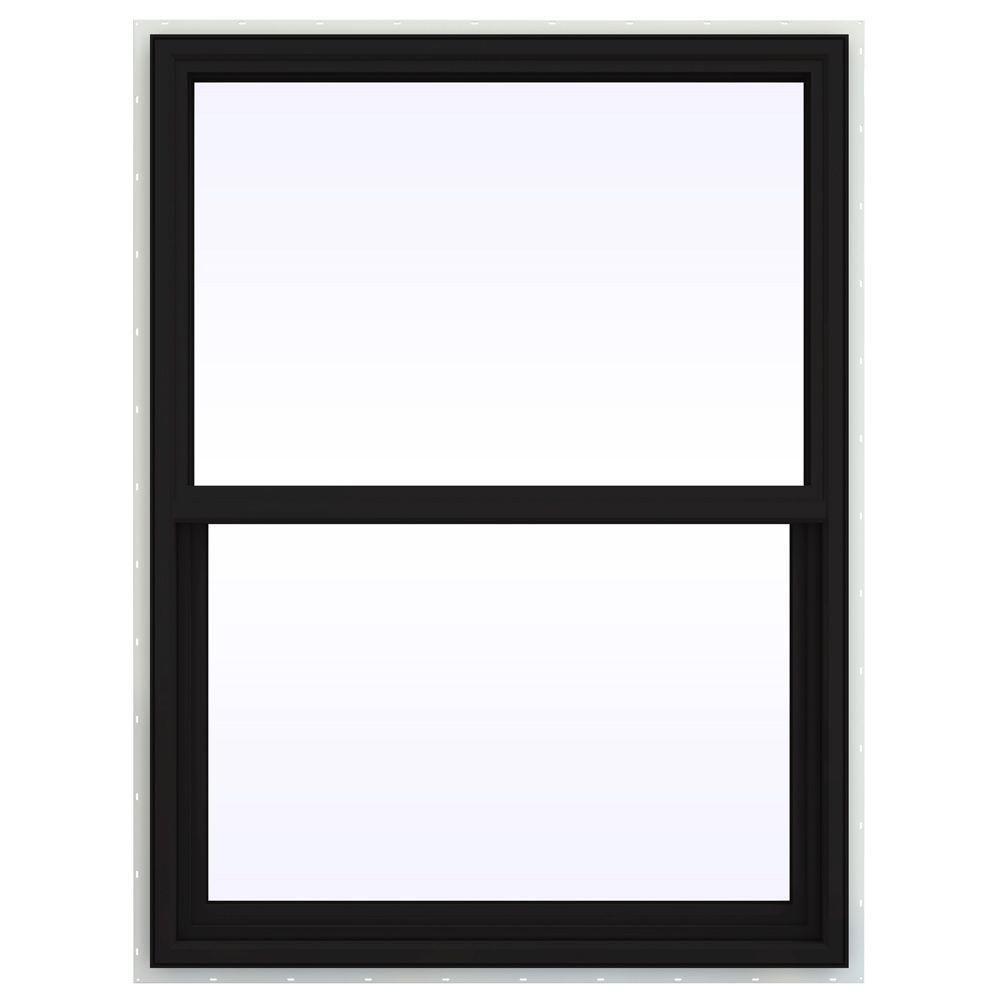 Jeld Wen 36 In X 48 In V 4500 Series Black Finishield Vinyl Single Hung Window Thdjw143900271 Single Hung Windows Single Hung Vinyl Windows Window Vinyl