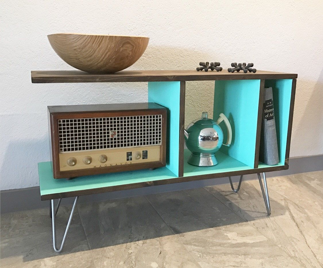 Cantilever media console vinyl record cabinet storage mid century