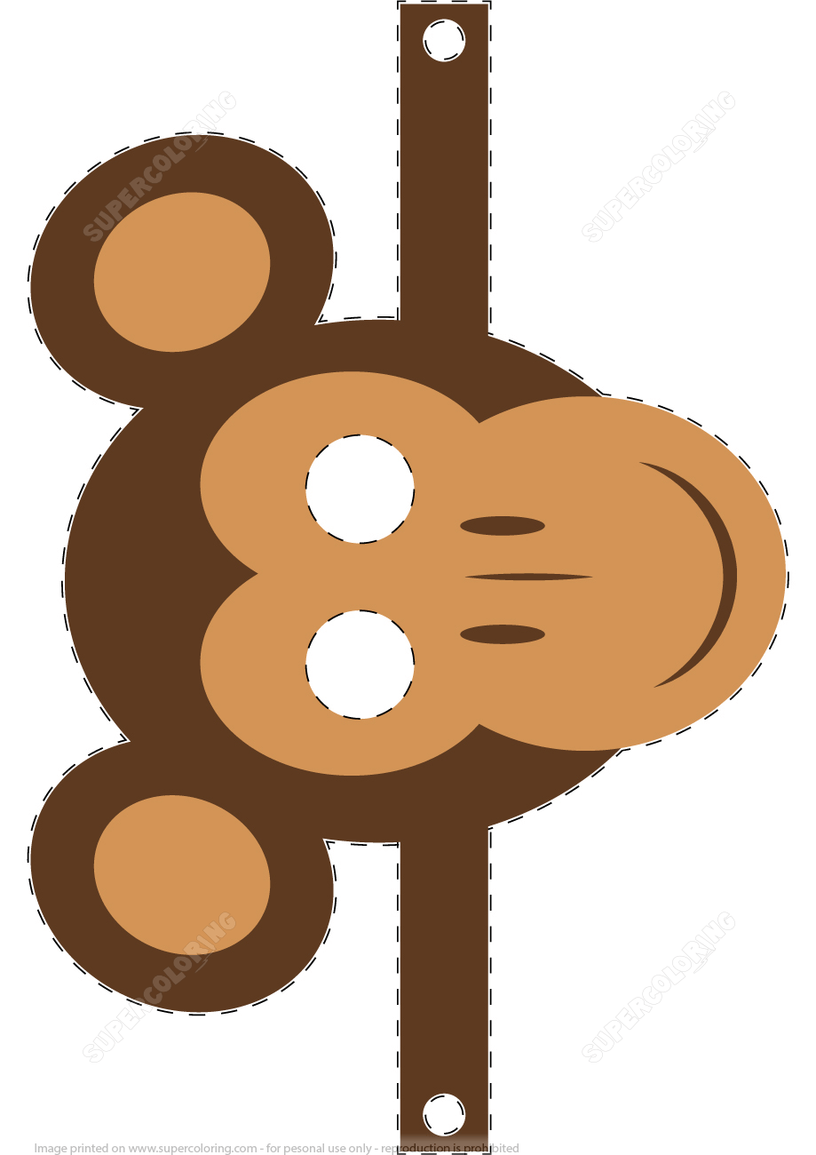 Monkey Mask Template Super Coloring In 2020 Handmade Monkey Monkey Mask Papercraft Templates