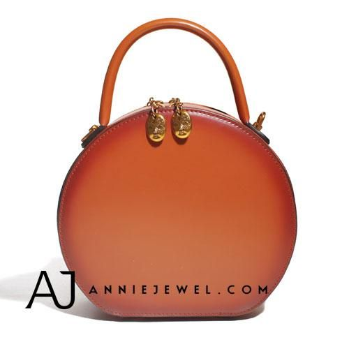 78b626c2faf Genuine Leather Round Handbag Handmade Shoulder Bag Crossbody Bag Purse  Clutch For Women