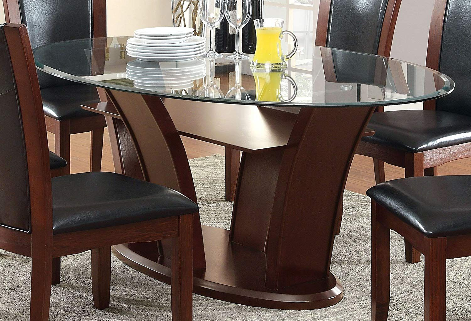Furniture Of America Okeho Contemporary Oval Glass Top Dining