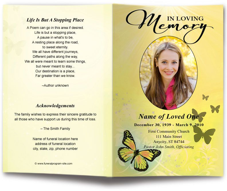 Butterfly Funeral Program Template 6 Colors Broomfield