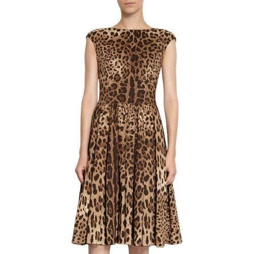 DOLCE GABBANA LEOPARD FLARE DRESS