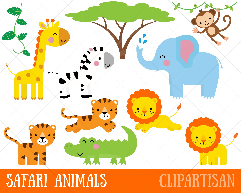 Safari Zoo Animals Clipart Zoo Keeper Jungle Animals Etsy Safari Baby Animals Animal Clipart Safari Animals