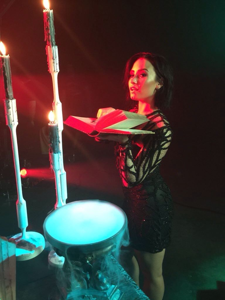 Demi Lovato backstage shooting for the #13NightsOfHalloween