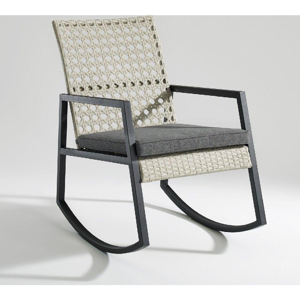 Modern Patio Rattan Rocking Chair Light Grey/Grey