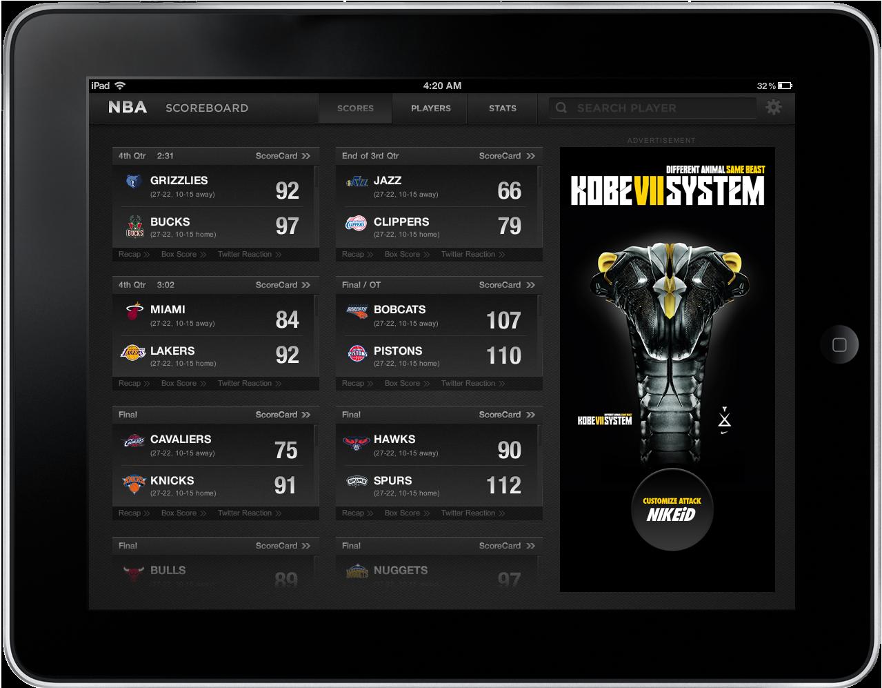 iPad App (NBA Scores, Stats and Player Info) Nba scores