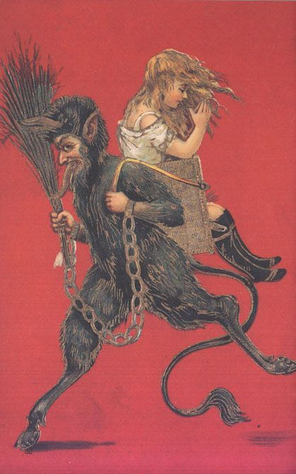 Krampus is a beast-like creature from the folklore of Alpine countries thought to punish children during the Christmas season who had misbehaved... Krampus is said to capture particularly naughty children in his sack and carry them away to his lair.