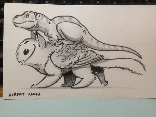 Here's a t-rex riding on an owl-griffin. Because... interspecies friendship is fun? *shrug*