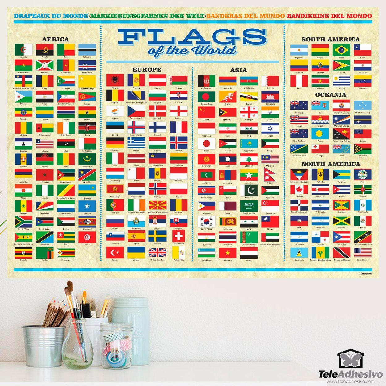 P ster adhesivo de vinilo de banderas del mundo poster - Posters de vinilo ...