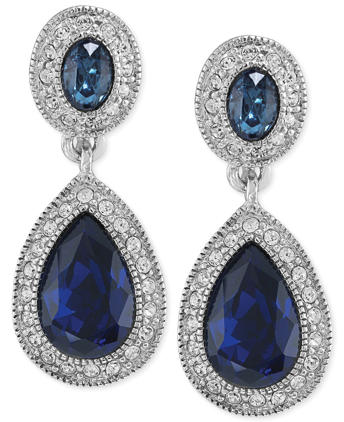 and clear macy watches jewelry drop pin earrings s crystal blue carolee