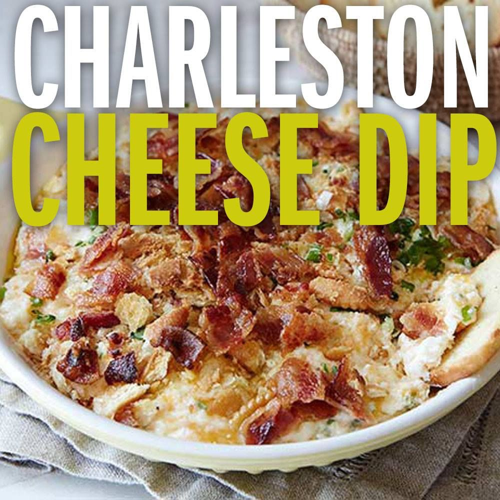 Recipe of the Day: Charleston Cheese Dip | Bring a triple dose of cheese to the party with this easy app — and prepare for everyone to want the recipe. It's filled with Monterey Jack, sharp Cheddar and cream cheese, topped with buttery cracker crumbs and baked till melty and delicious. #charlestoncheesedips