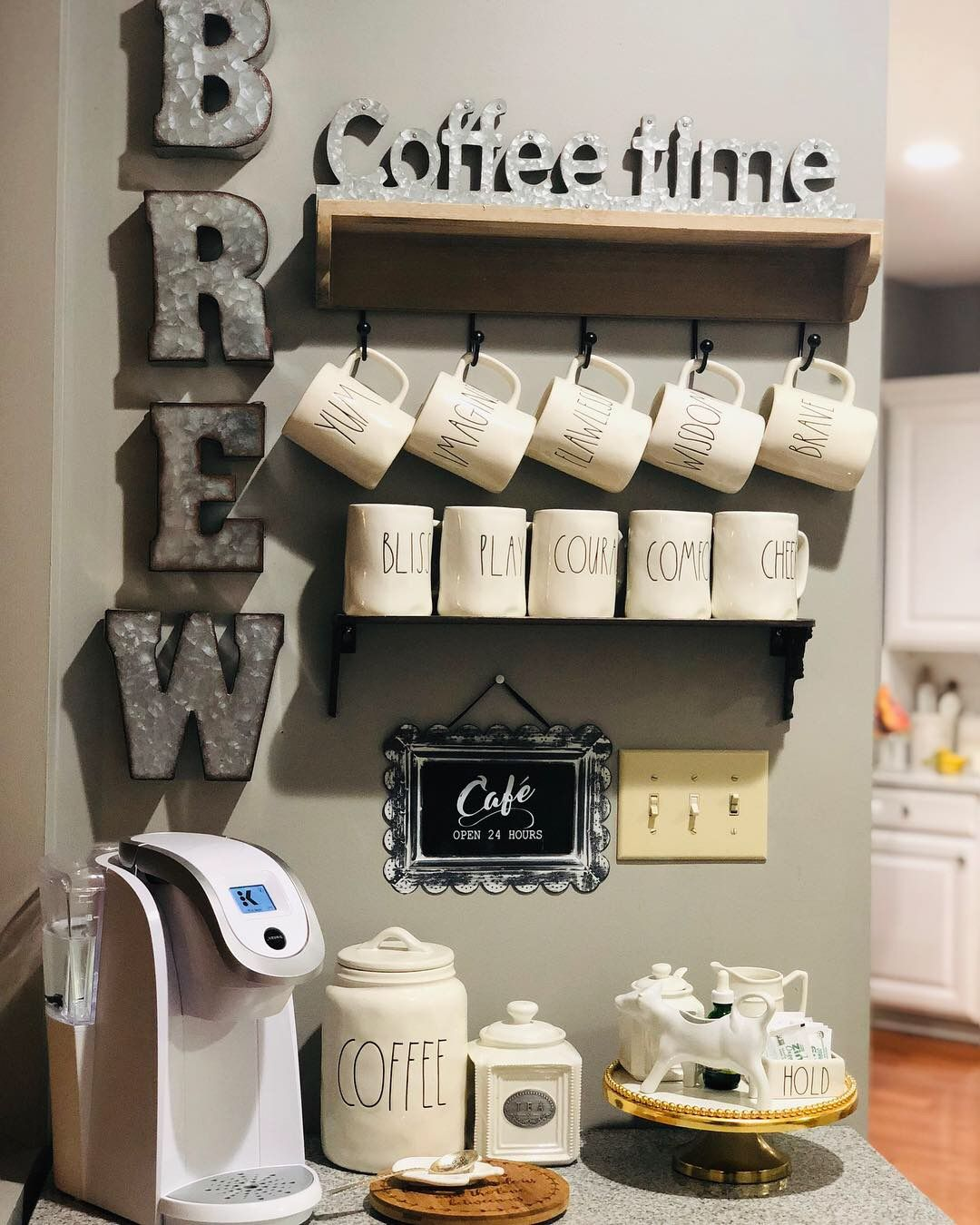 Farmhouse Coffee Shop Farmhouse Coffee Station Kitchen In 2019 Coffee Bar Home