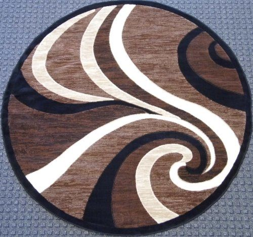 Modern Round Area Rug Brown Design 144 Americana 5ft3in X5ft3in