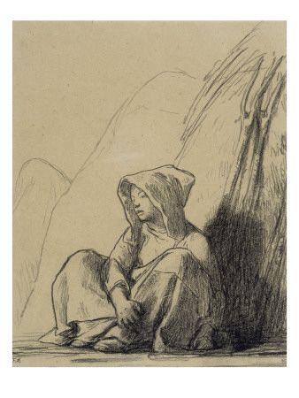 Petite paysanne assise au pied d'une meule Impressão giclée por Jean-François Millet na AllPosters.pt