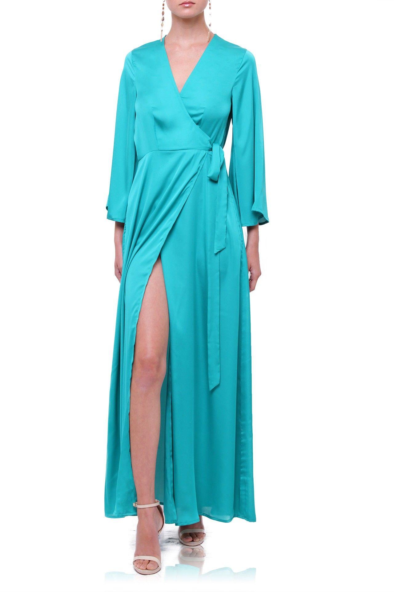 6a8724b990a Turquoise Silk Maxi Wrap Dress