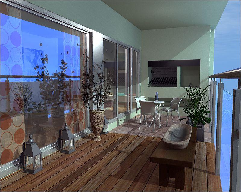 Dise o para balcon terraza con parrilla y deck piscinas - Balcones con encanto ...