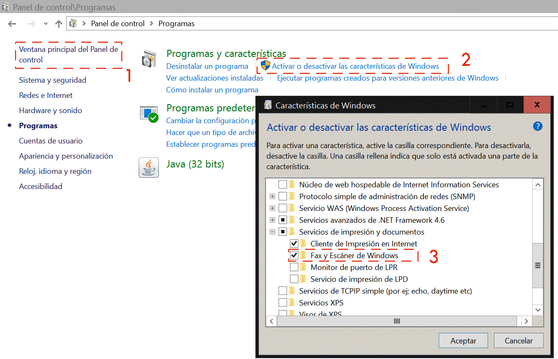 Aplicación Fax y escáner de Windows 10