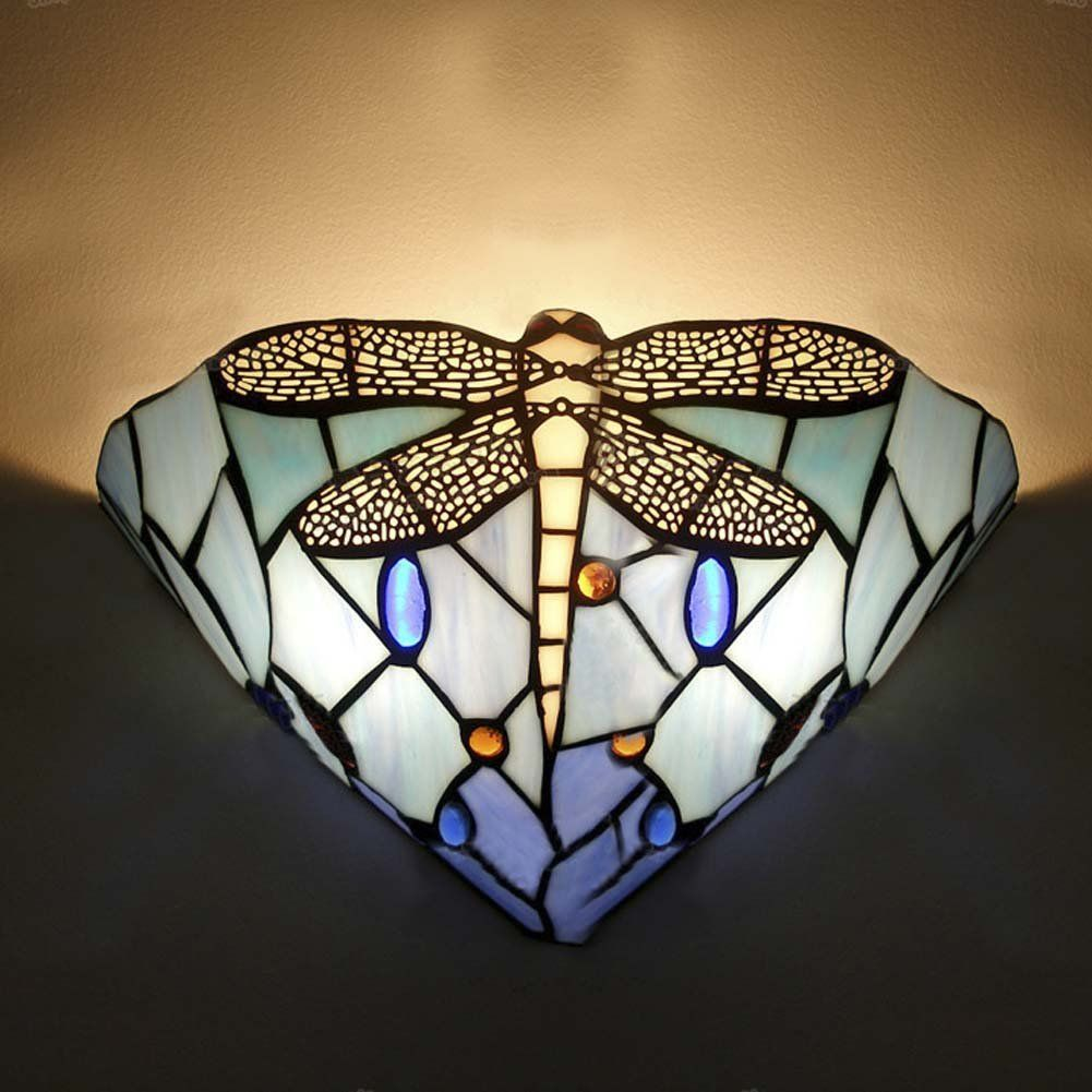 BAYCHEER Farbenfrohe Glas Wandleuchte LIBELLE Muster Glaslampe Im Tiffany Stil:  Amazon.de: