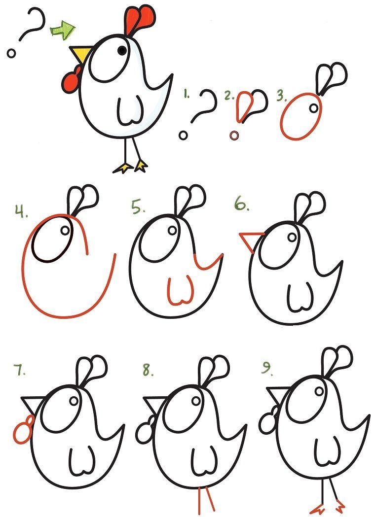 Disegnare Una Gallina Partendo Da Un Punto Interrogativo Disegni Facili Da Disegnare Disegni Facili Disegno Passo Dopo Passo Disegno Di Cartoni