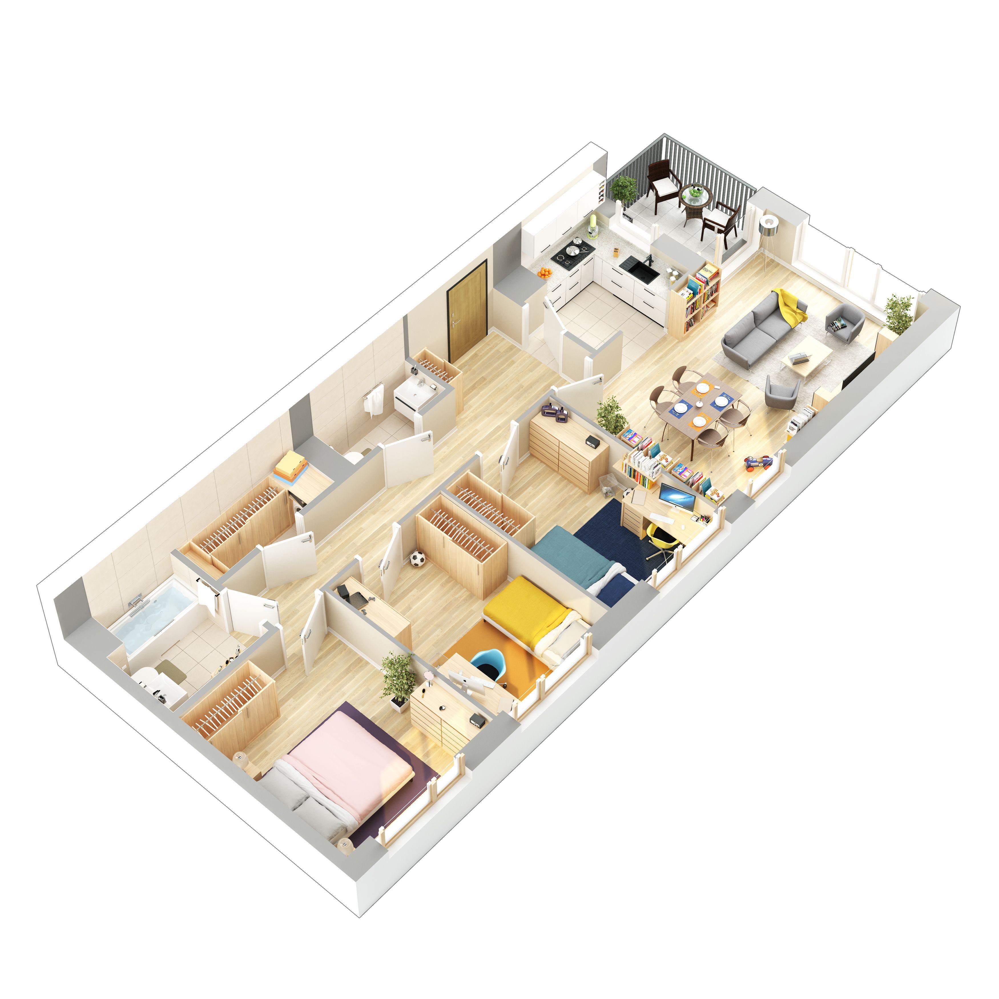 3d Floor Plans Of Flats Denah Rumah Kecil Denah Rumah Desain Rumah